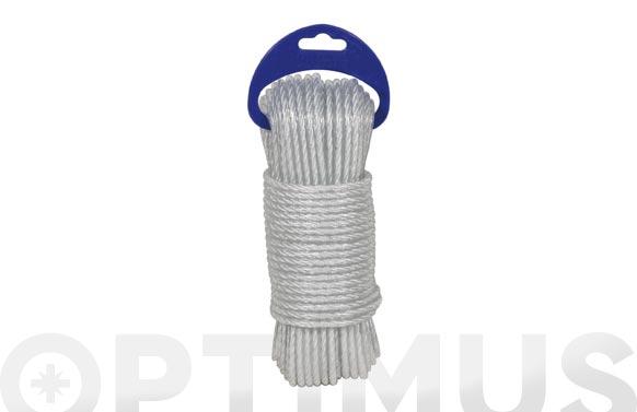 Cuerda polietileno cableada plastificada 4 c ø 5mm 25 mt blanco