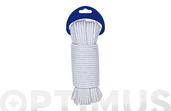 Cuerda algodon trenzado con alma ø 4,5mm 10 mt blanco