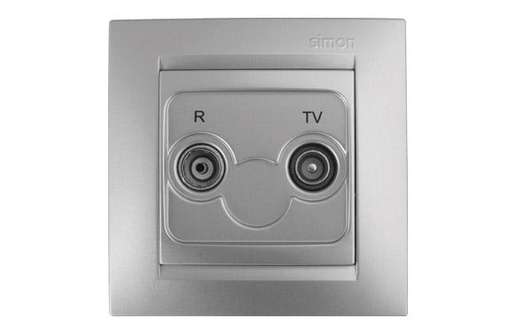 Toma television intermedia aluminio serie 15