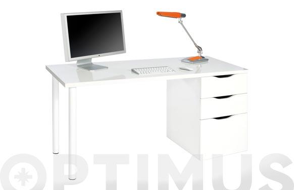 Mesa ordenador reversible blanco artik 74 x 138 x 60 cm