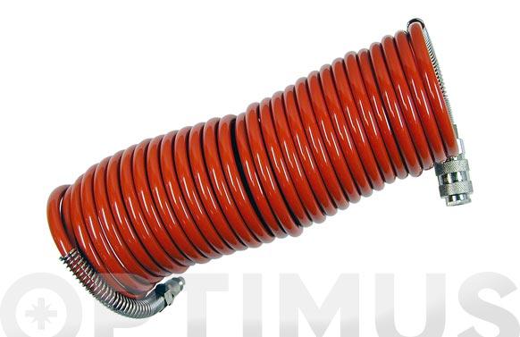 Manguera espiral nilon 6 x 8 7,5 m