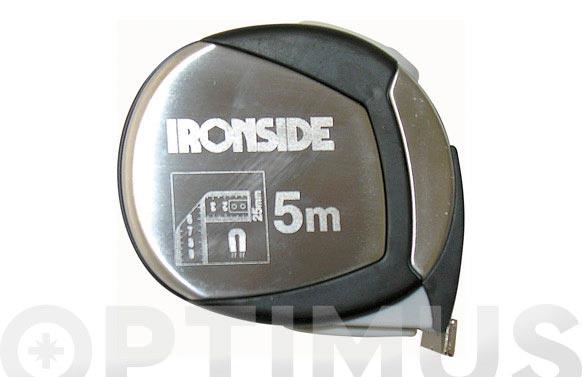 Flexometro acero cromado y goma con iman y freno 5 m x 25 mm cinta impresa a dos caras
