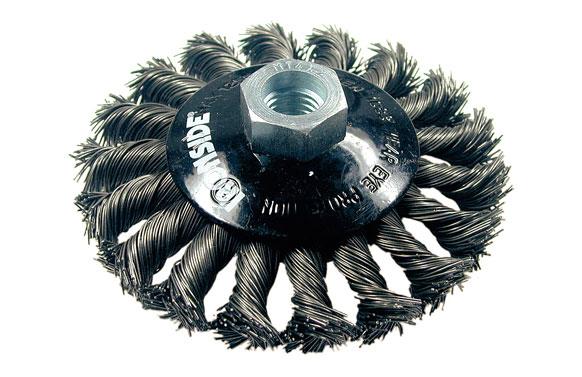 Cepillo circular conico pua trenzada acero m14 ø 100 x 13/0.50