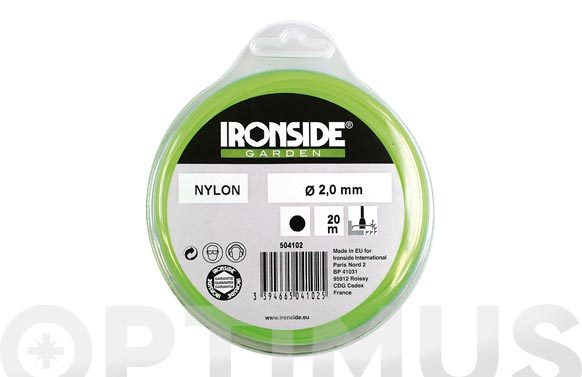 Hilo nilon redondo ø 2,0 mm., 20 m. verde