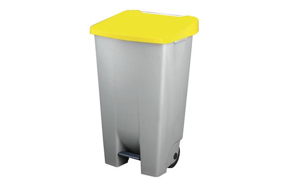 Contenedor selectivo amarillo pedal y ruedas 120 l