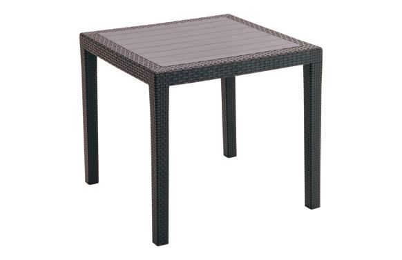 Mesa resina ratan antracita king 80 x 80 cm