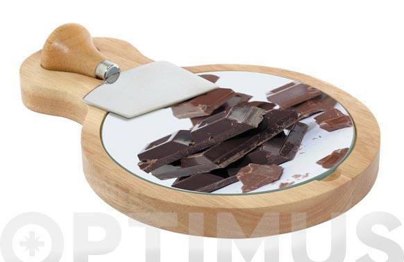 Tabla corte chocolate + cuchillo