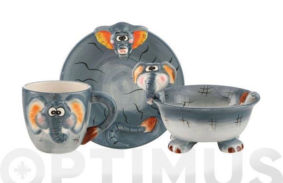 Set desayuno 3 piezas elefante