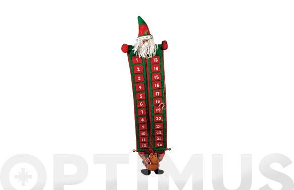 Calendario adviento papa noel/reno 105 cm