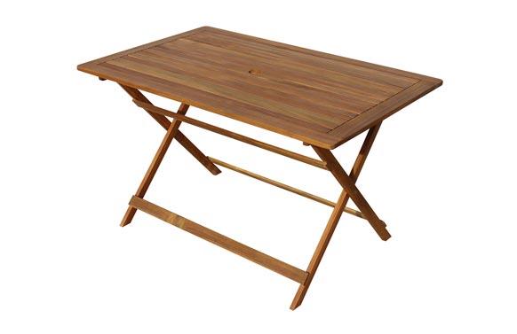 Mesa rectangular plegable acacia fsc 125 x 80 cm