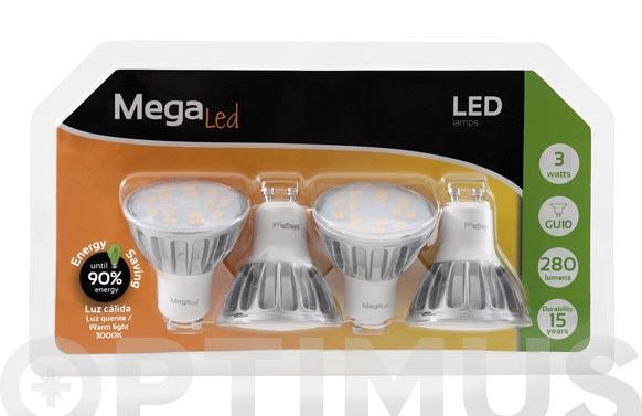 Led dicroica alum 280lm (4 unidades) gu10 3w luz calida (3000k)