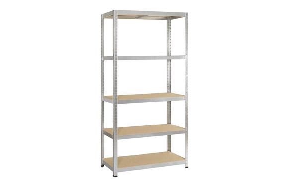 Estanteria metalica 5 estantes de madera 180 x 90 x 40 cm.