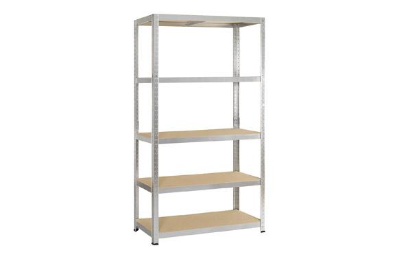 Estanteria metalica 5 estantes de madera 200 x 100 x 40 cm.