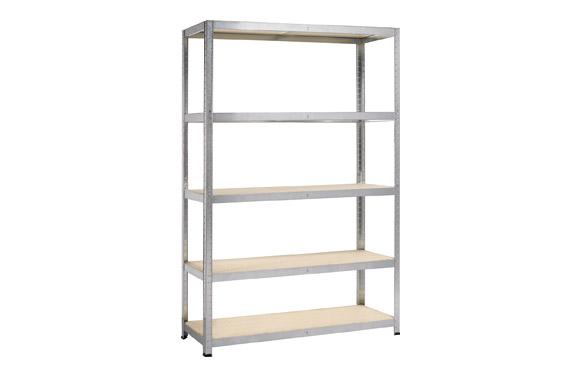 Estanteria metalica 5 estantes madera 180 x 120 x 45 cm.