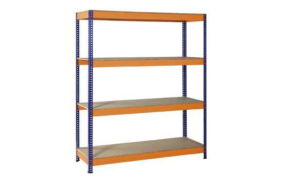 Estanteria metalica azul / naranja, 4 estantes 180 x 150 x 50 cm.