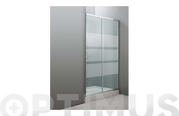 Mampara frontal ducha cristal serigrafiado cromo 120 x 185 cm
