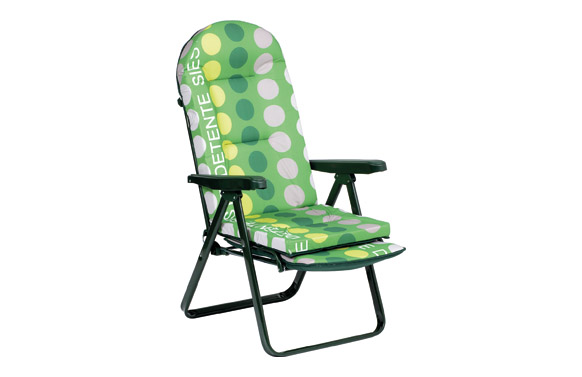 Sillon relax con reposapies extensible acero verde topos