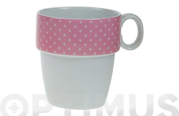 Mug apilable porcelana ambit mini topos rosa