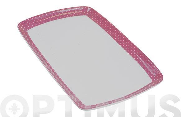 Bandeja porcelana decorada 31x20 mini topos rosa