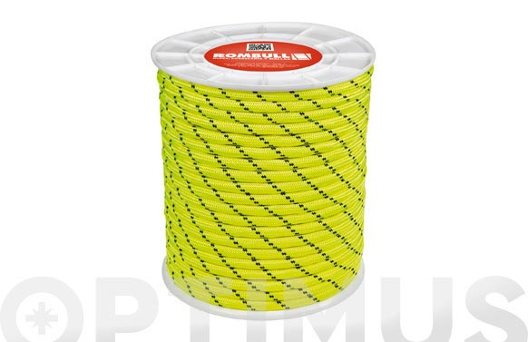 Cuerda poliester trenzado con alma ø 10 mm 25 mt amarillo fluorescente