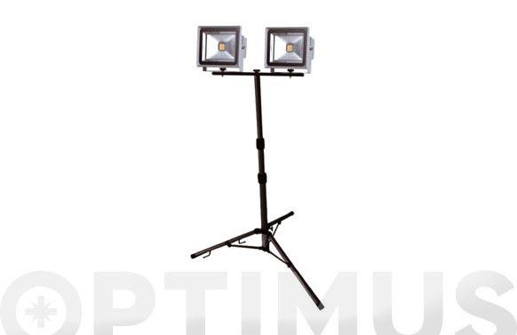 Foco proyector led 2 x 30 w con tripode 4800 lm luz fria ip65
