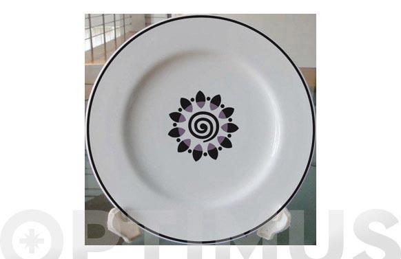Vajilla porcelana decorada 20pz 14562-espiral negra