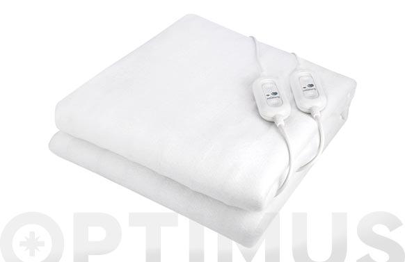 Calientacamas doble poliester 160x140cm mando separable 2x60w