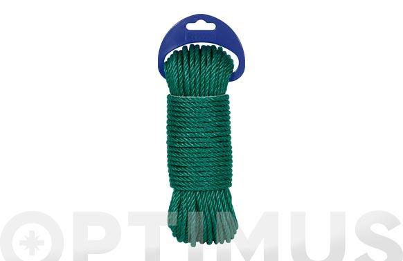 Cuerda polietileno cableada 4 cabos ø 5 mm 25 mt verde