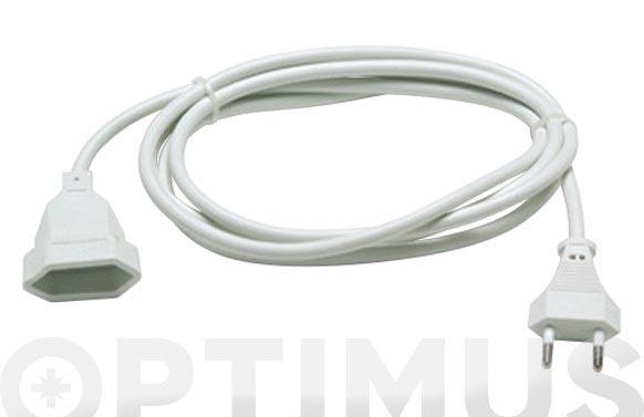 Prolongador 2x1 blanco 10a 2 mt