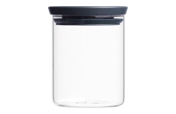 Bote apilable cristal tapa gris 0,7 l