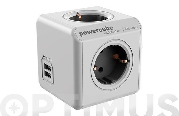 Adaptador powercube 4t + 2 usb 1,5 mt