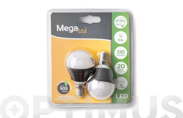 Bombilla led mini esférica (2uni) 4,5w e14 luz cálida (3000k)