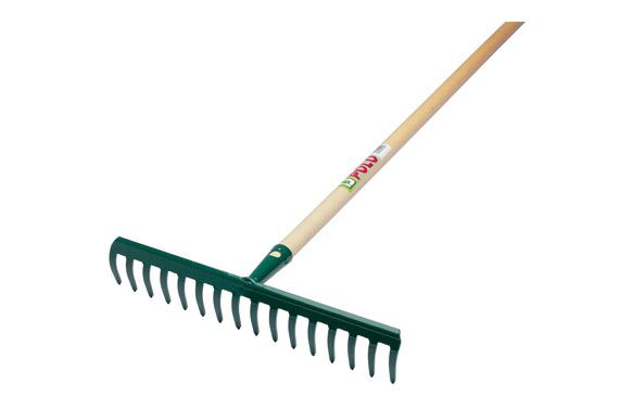 Rastrillo 16 dientes curvos (8 x 40 cm) con mango de madera de 130 cm.