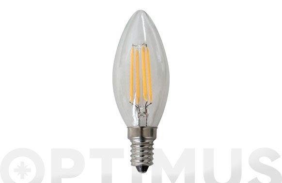 Bombilla led filamento vela 380lm 4w e14 luz calida