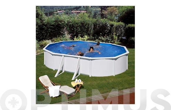 Piscina acero ovalada filtro arena 610x375x120 cm blanca