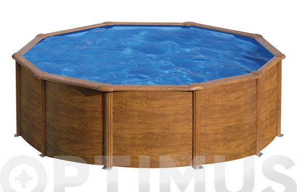 Piscina acero redonda filtro cartucho 3,8m3 ø350x120 cm madera