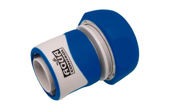 Enlace rapido 15 mm. con stop bicomponente: acetal (pom) y caucho