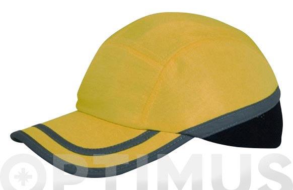 Gorra antigolpes amarilla con banda reflectante