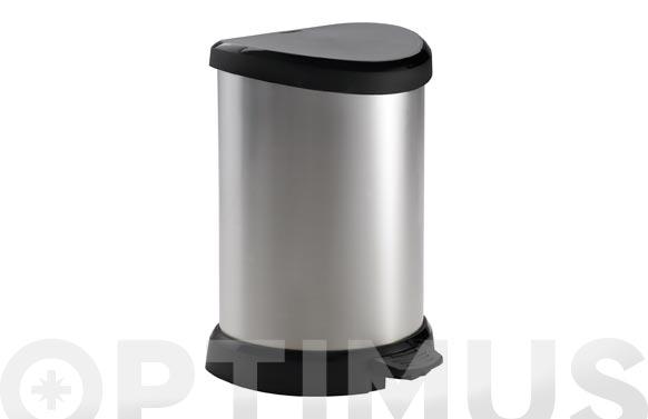Cubo pedal decorado metal plata 20 l