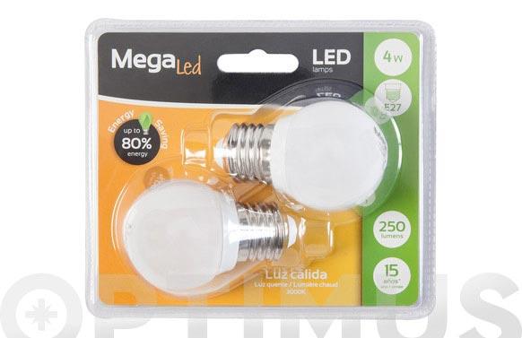 Bombilla led mini esférica (pack 2 unidades) 4w e27 luz cálida