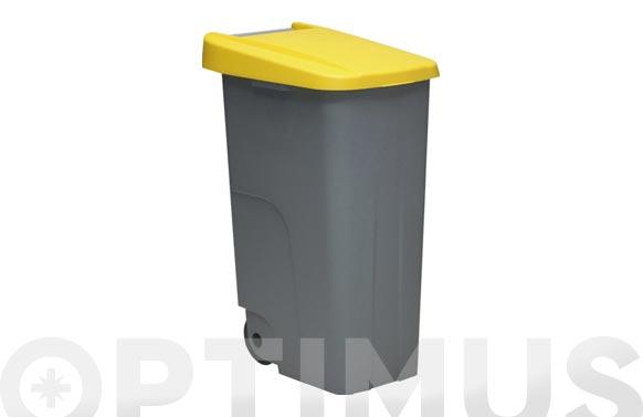 Contenedor basura gris eco 110l tapa verde