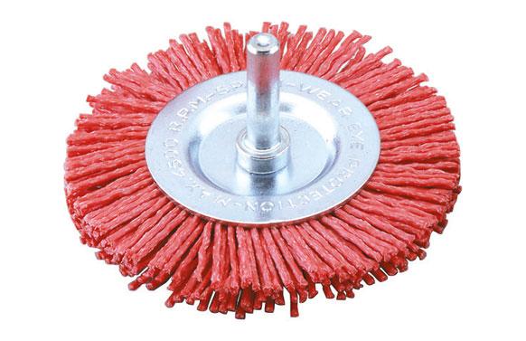Cepillo disco nilon abraslon rojo espiga 6 mm ø100 grano 80