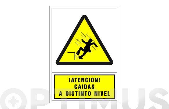 Señal advertencia castellano 345x245 mm-atencion caidas a distinto nivel