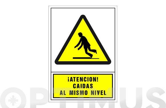 Señal advertencia castellano 345x245 mm-atencion caidas al mismo nivel