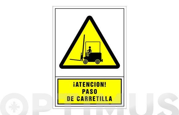 Señal advertencia castellano 345x245 mm-atencion paso de carretilla