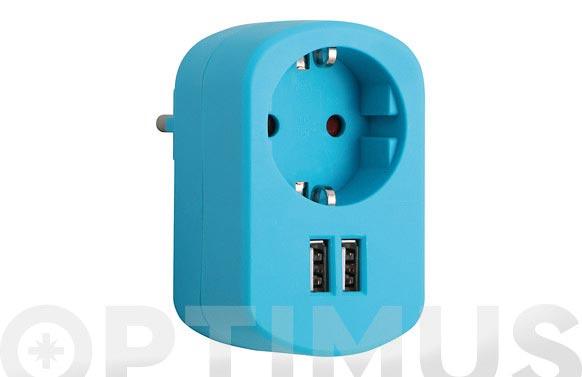 Adaptador con doble usb 3.15a azul