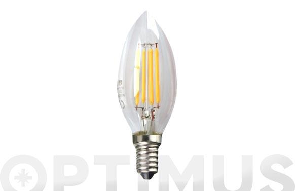 Bombilla led filamento vela transp. 450lm 4w e14 luz calida (3000k)