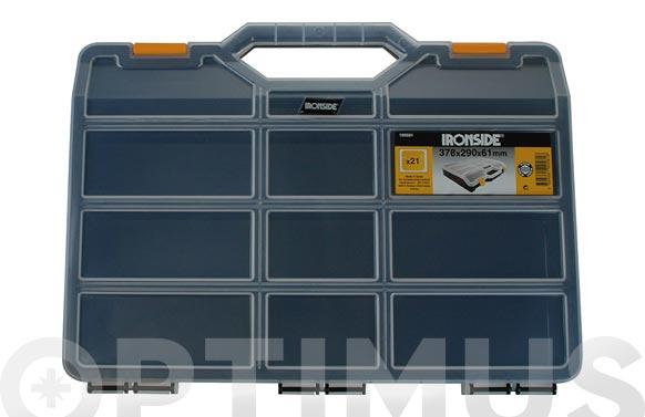 Clasificador maleta polipropileno negro 378 x 290 x 61 mm 21 compartimientos