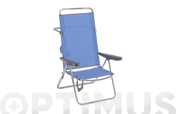Silla posiciones alta aluminio playa fibreline azul