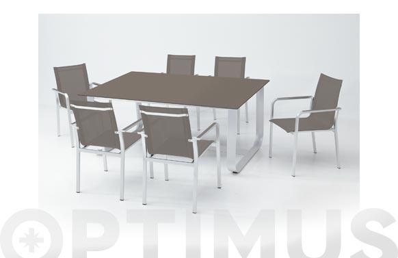 Mesa aluminio cristal arena 170 x 100 cm